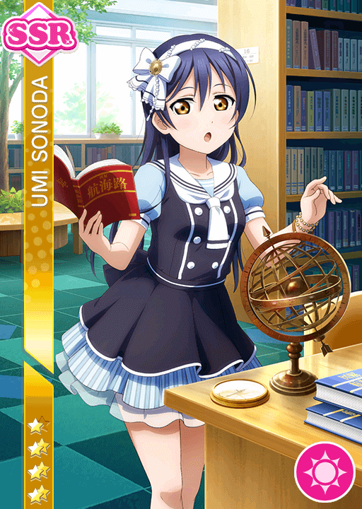 She's so beautiful I can't—  SSR Umi:   Unidolized   Idolized  SR Maki:  Unidolized  Idolized  Worth noting, Umi is a scorer! I was expecting a plocker, since she already has one healer and one scorer SSR, but that doesn't seem to be the case!